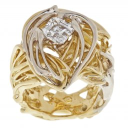 Burning Water Gents Asscher Cut Diamond Ring