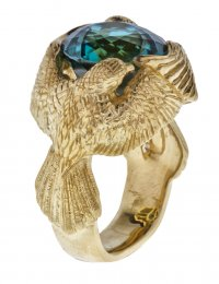 Twin Falcon Blue Zircon Ring