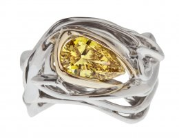 Burning Water Vivid Yellow Diamond Ring