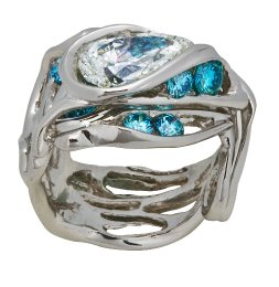 Burning Water White & Blue Diamond Ring